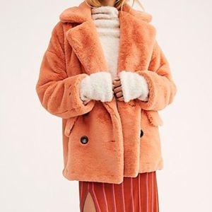 NWOT Free People Fur Coral Jacket